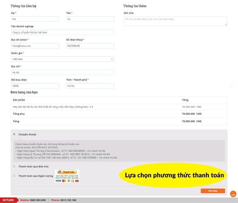 Điền đầy đủ thông tin và chọn phương thức thanh toán