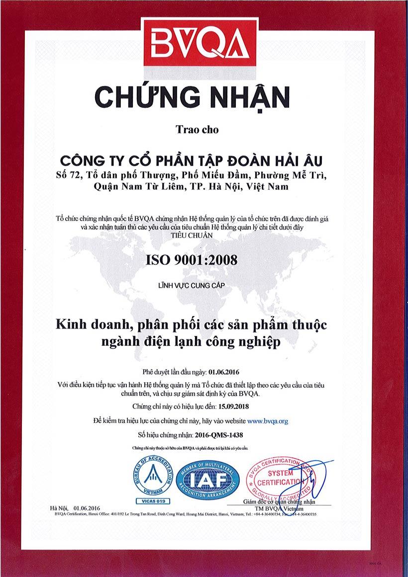 Chứng nhận ISO tập đoàn Hải Âu