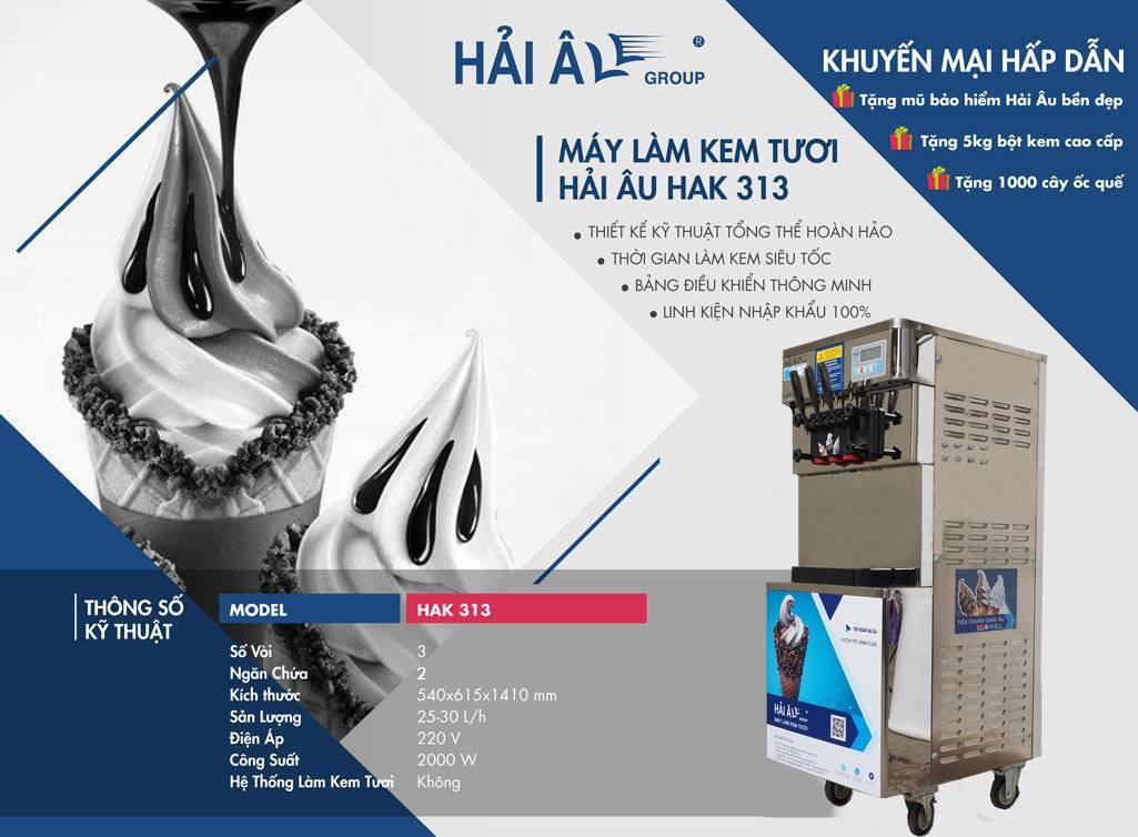 thông số máy làm kem Hải Âu HAK 313