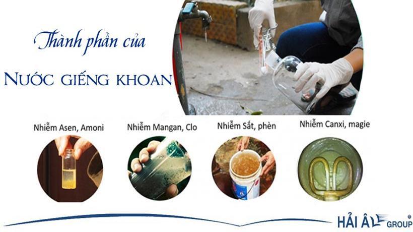 Các thành phần trong nước giếng khoan gây hại sức khỏe con người