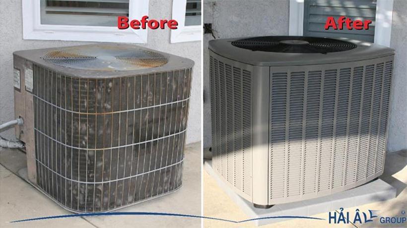 Dàn nóng điều hòa trước và sau khi vệ sinh