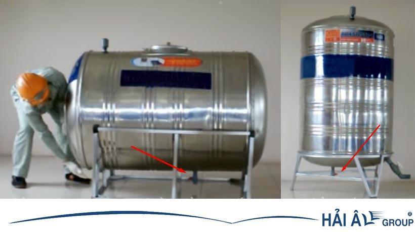 Van xả nước của bồn chứa nằm ngang và bồn chứa dạng đứng