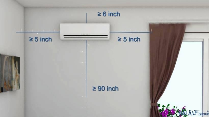 Khoảng cách cần đảm bảo khi lắp đặt cục lạnh/dàn lạnh điều hòa