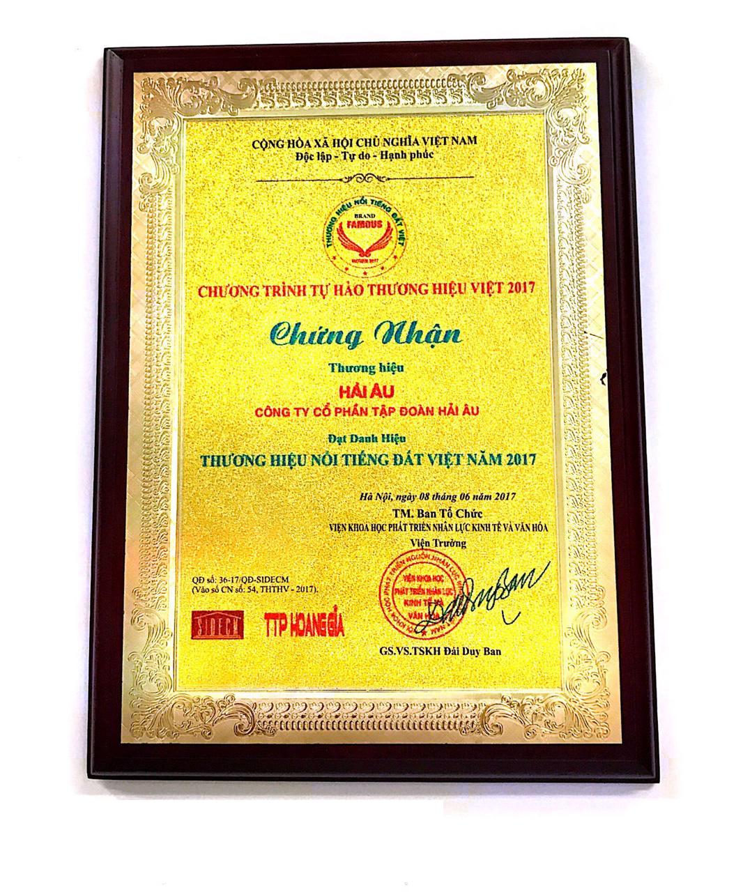 Giải thưởng thương hiệu nổi tiếng Đất Việt 2017