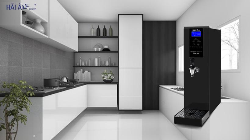 thiết kế thiết bị đun nước nóng công nghiệp tone xám đen