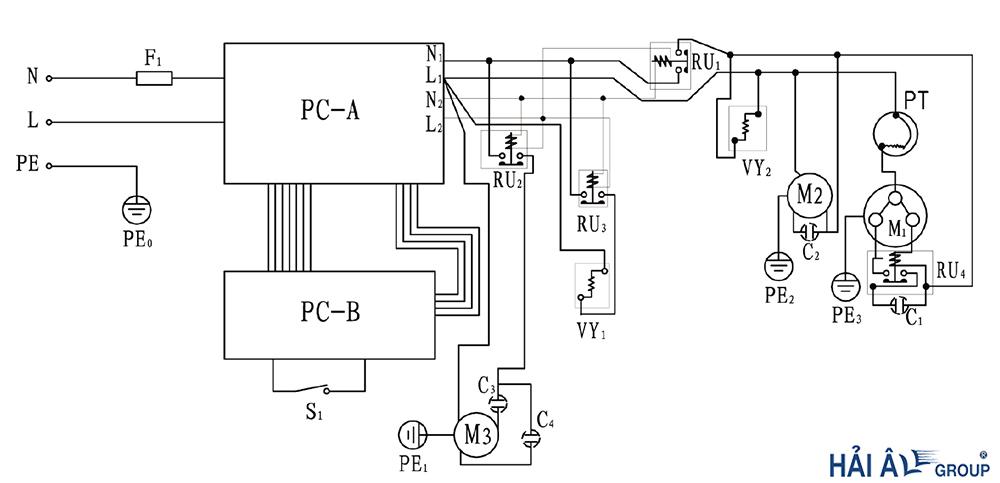 sơ đồ mạch điện máy làm kem